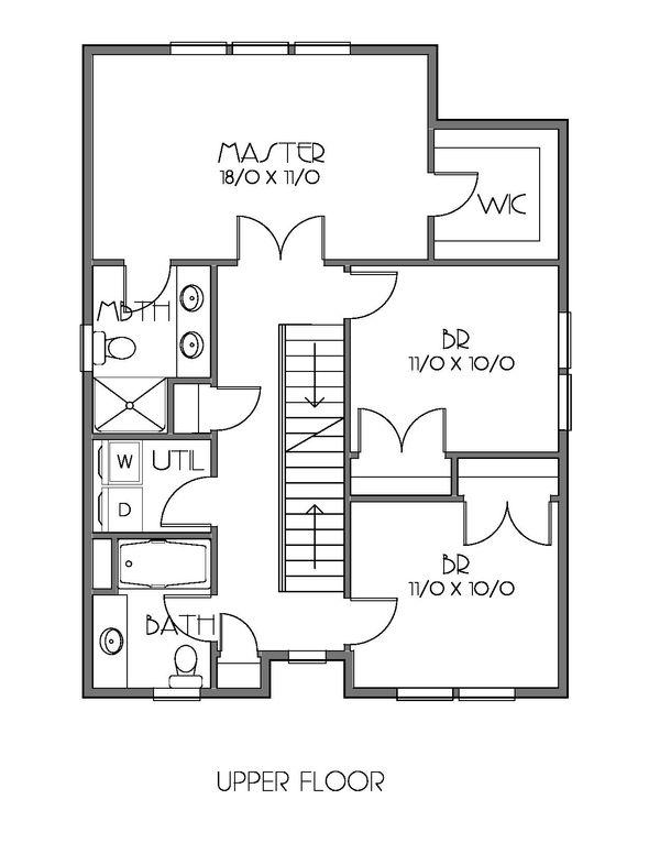 Craftsman Floor Plan - Upper Floor Plan Plan #423-62