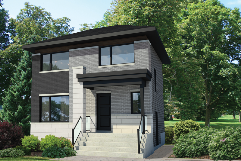 Contemporary Style House Plan - 3 Beds 1 Baths 1252 Sq/Ft Plan #25-4508 Exterior - Front Elevation