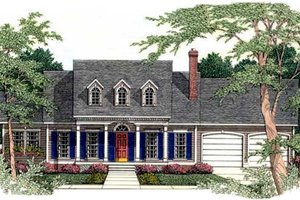 Southern Exterior - Front Elevation Plan #406-197