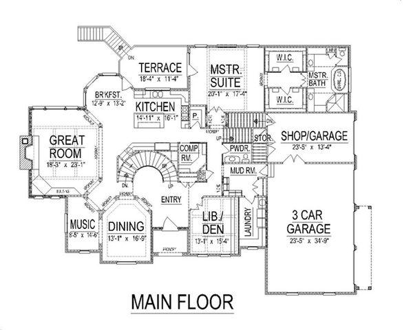 European Floor Plan - Main Floor Plan Plan #458-14
