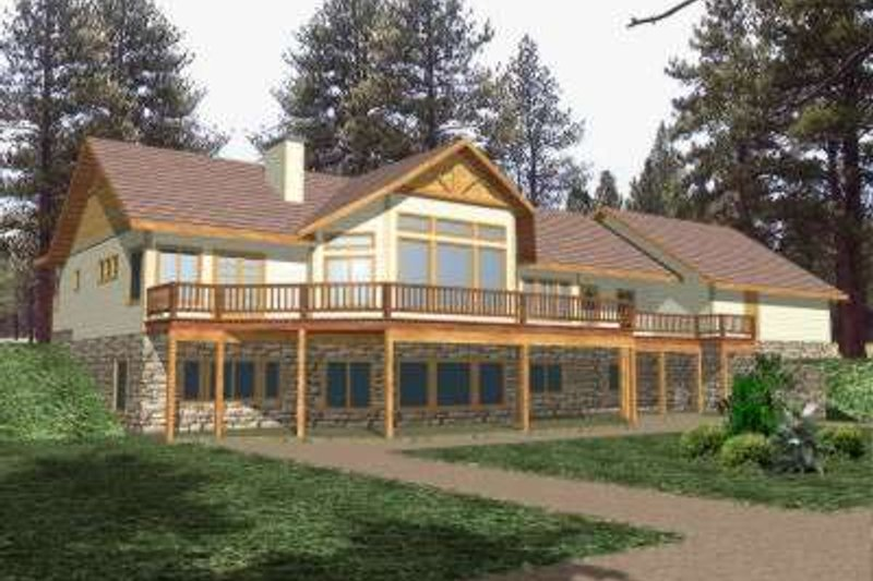 Bungalow Style House Plan - 4 Beds 3 Baths 4711 Sq/Ft Plan #117-371 Exterior - Front Elevation