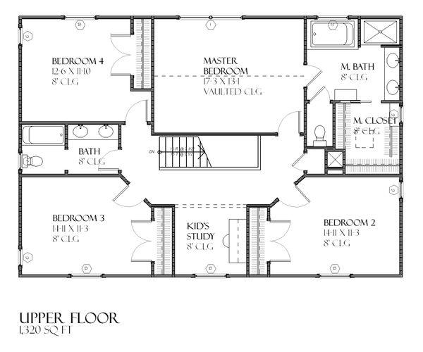 Traditional Floor Plan - Upper Floor Plan Plan #901-91