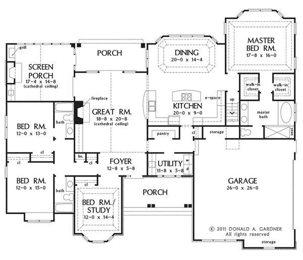 European Floor Plan - Main Floor Plan Plan #929-3