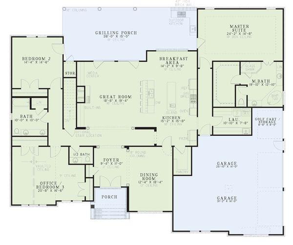Dream House Plan - European Floor Plan - Main Floor Plan #17-2510