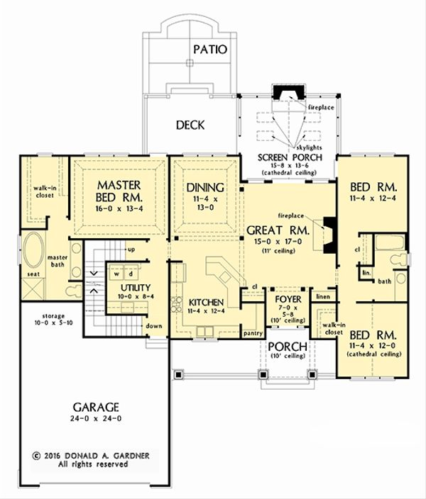 Craftsman Floor Plan - Main Floor Plan Plan #929-1038