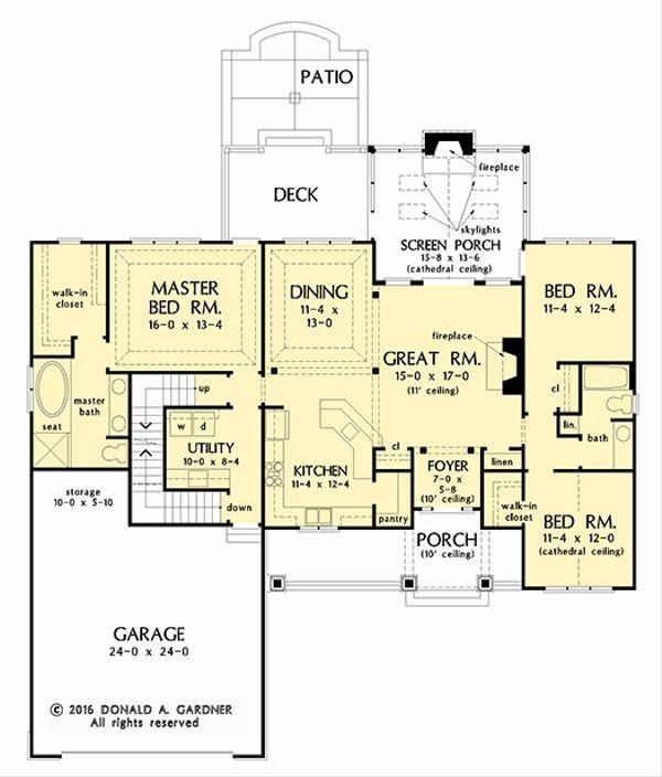 Dream House Plan - Craftsman Floor Plan - Main Floor Plan #929-1038