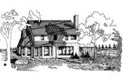 European Style House Plan - 4 Beds 3 Baths 2163 Sq/Ft Plan #405-101 Exterior - Rear Elevation