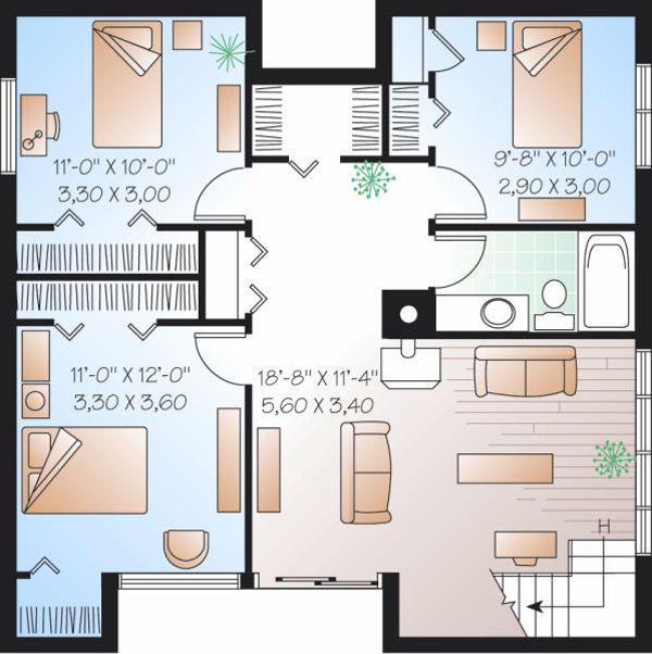 Contemporary Floor Plan - Lower Floor Plan Plan #23-751