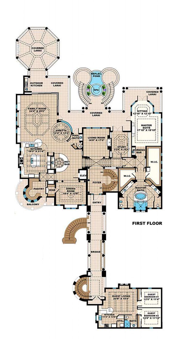 Mediterranean Floor Plan - Upper Floor Plan Plan #27-538