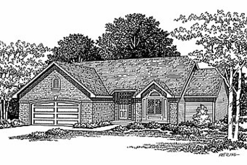 Traditional Style House Plan - 3 Beds 2 Baths 1644 Sq/Ft Plan #70-163 Exterior - Front Elevation