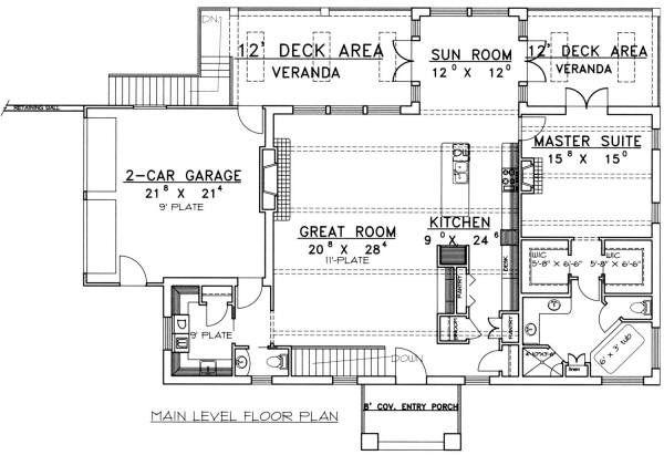 Mediterranean Floor Plan - Main Floor Plan Plan #117-559