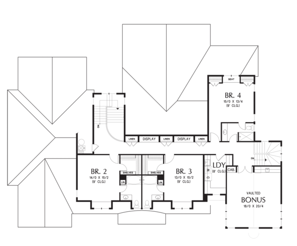 House Plan Design - Upper Level Flloor Plan - 4900 square foot Colonial
