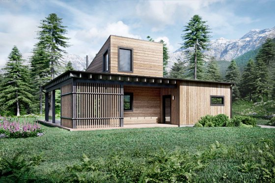 Cabin Exterior - Front Elevation Plan #924-16