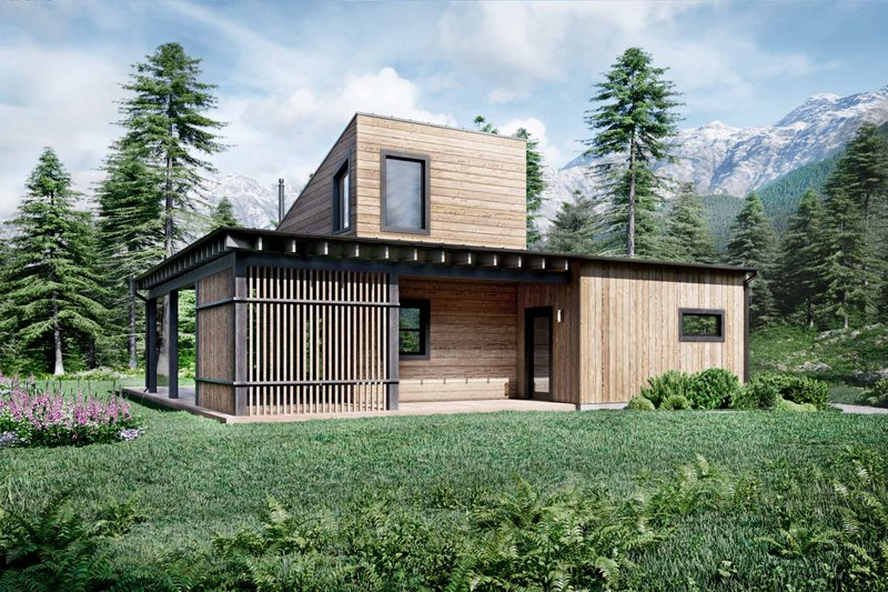 Architectural House Design - Cabin Exterior - Front Elevation Plan #924-16