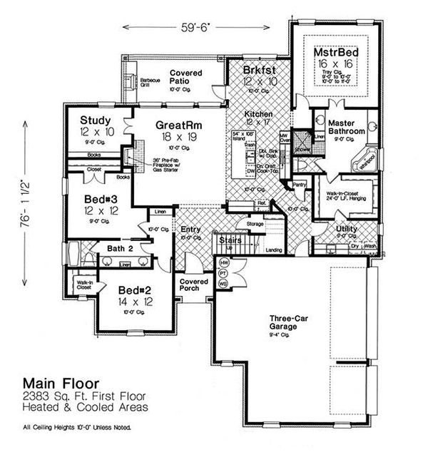 House Plan Design - European Floor Plan - Main Floor Plan #310-1300