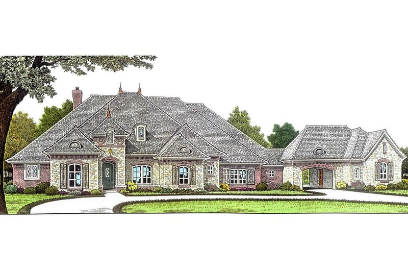 European Style House Plan - 3 Beds 3.5 Baths 3214 Sq/Ft Plan #310-685 Exterior - Front Elevation