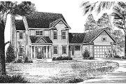 Traditional Style House Plan - 3 Beds 2.5 Baths 1748 Sq/Ft Plan #70-186 Exterior - Front Elevation