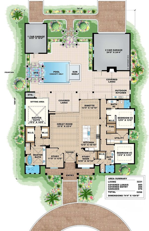 Southern Floor Plan - Main Floor Plan Plan #27-501