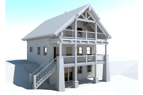 Log Exterior - Front Elevation Plan #451-1