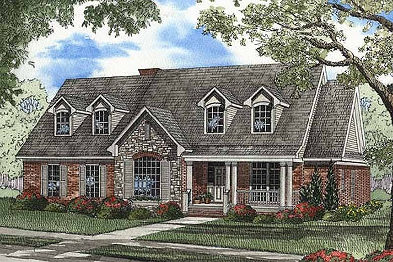 Country Style House Plan - 4 Beds 3 Baths 2624 Sq/Ft Plan #17-1101 Exterior - Front Elevation