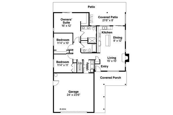Ranch Floor Plan - Main Floor Plan Plan #124-956
