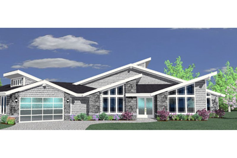 Modern Style House Plan - 4 Beds 3.5 Baths 3996 Sq/Ft Plan #509-9 Exterior - Front Elevation