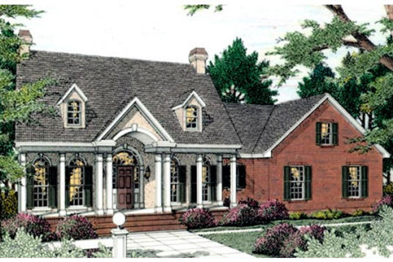 Southern Exterior - Front Elevation Plan #406-118