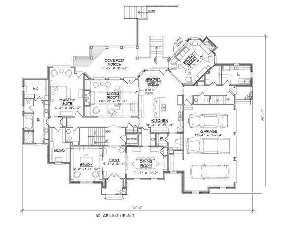 European Floor Plan - Main Floor Plan Plan #1054-30