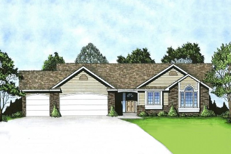 Ranch Exterior - Front Elevation Plan #58-174 - Houseplans.com