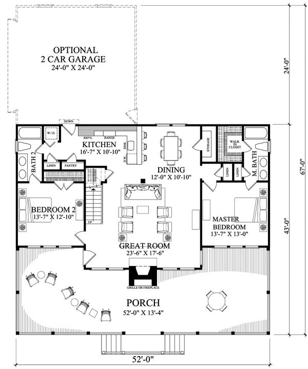 Country Floor Plan - Main Floor Plan Plan #137-375