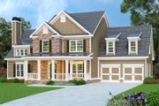 Craftsman Style House Plan - 4 Beds 2.5 Baths 2798 Sq/Ft Plan #419-137 Exterior - Front Elevation