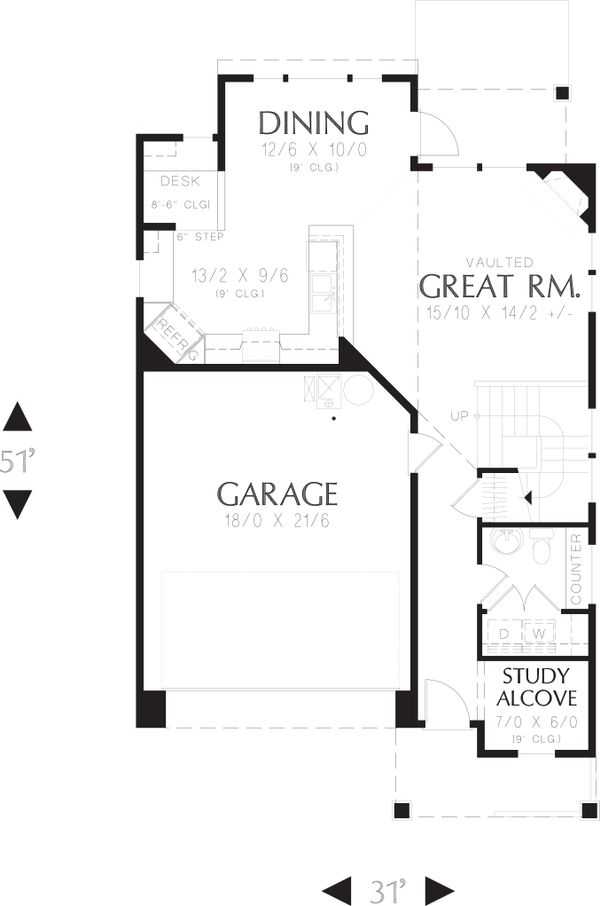 Country Floor Plan - Main Floor Plan Plan #48-630