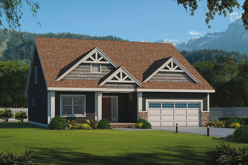 Craftsman Style House Plan - 3 Beds 3 Baths 2113 Sq/Ft Plan #20-2316 Exterior - Front Elevation