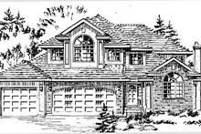 House Blueprint - European Exterior - Front Elevation Plan #18-241