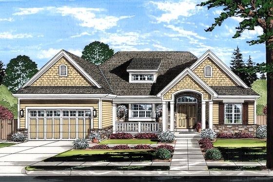 Ranch Exterior - Front Elevation Plan #46-882