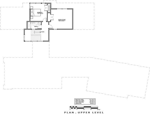 Contemporary Floor Plan - Upper Floor Plan #892-23