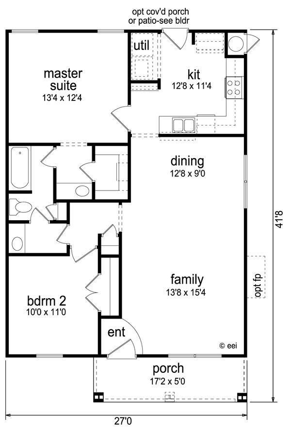 Craftsman Floor Plan - Main Floor Plan Plan #84-445