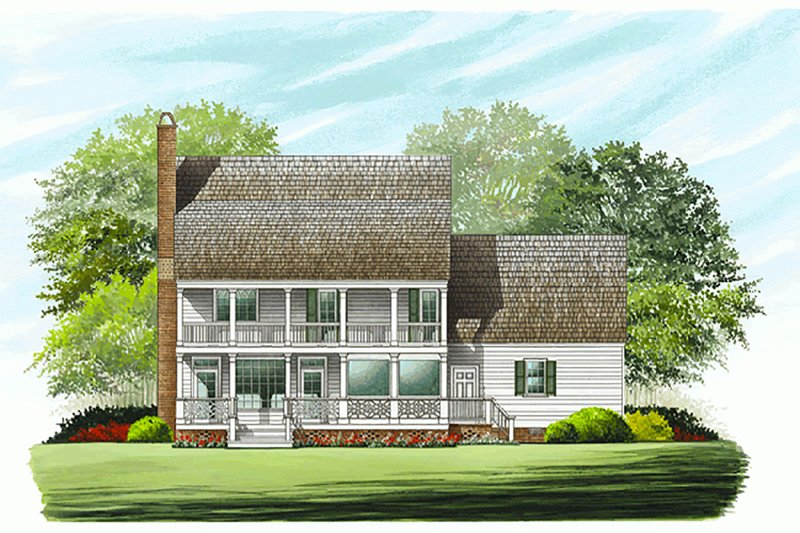 Southern Exterior - Rear Elevation Plan #137-146 - Houseplans.com