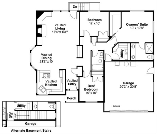 Country Floor Plan - Main Floor Plan Plan #124-368