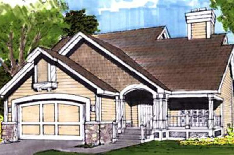 Country Style House Plan - 3 Beds 2 Baths 1465 Sq/Ft Plan #320-351 Exterior - Front Elevation