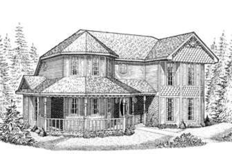 Victorian Exterior - Front Elevation Plan #410-216