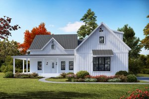 Dream House Plan - Farmhouse Exterior - Front Elevation Plan #54-392