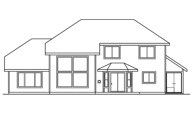 Traditional Exterior - Rear Elevation Plan #124-384 - Houseplans.com