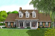 Country Style House Plan - 3 Beds 2.5 Baths 1698 Sq/Ft Plan #11-108 Exterior - Front Elevation