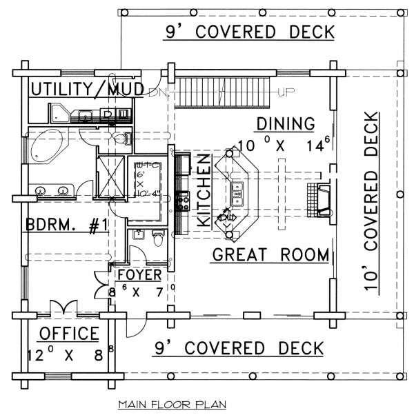 Log Floor Plan - Main Floor Plan Plan #117-553