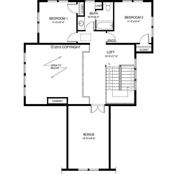 Craftsman Floor Plan - Upper Floor Plan Plan #895-50