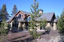 Craftsman style home design, rear elevation photo