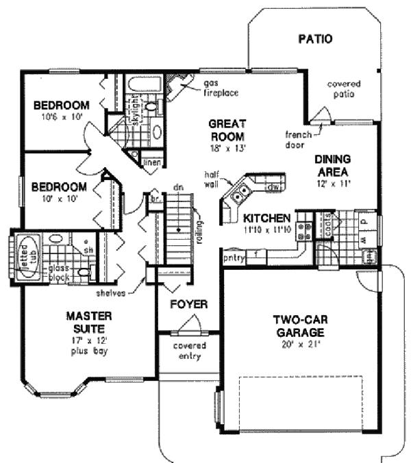 Ranch Floor Plan - Main Floor Plan Plan #18-1020