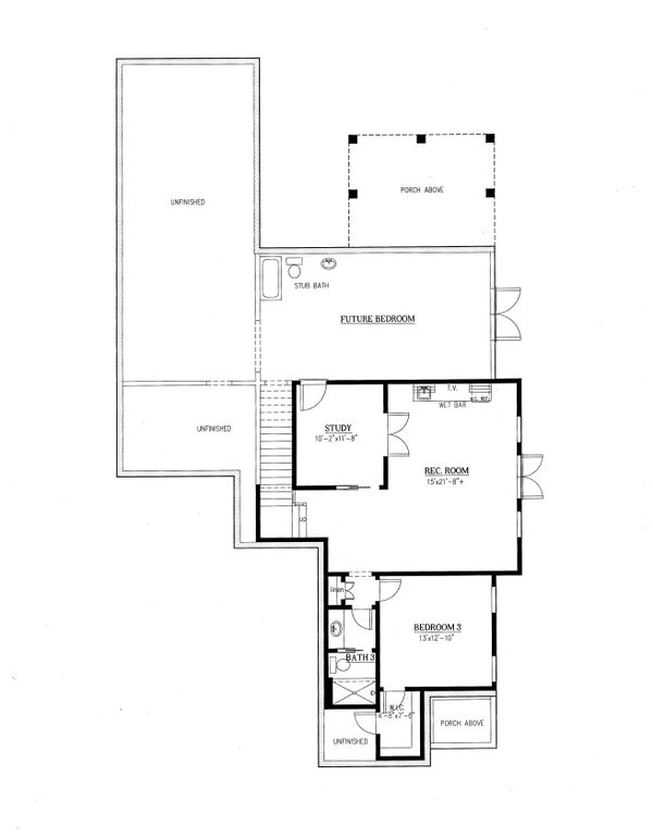 Ranch Floor Plan - Lower Floor Plan Plan #437-89