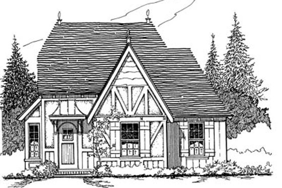 Tudor Exterior - Front Elevation Plan #43-103